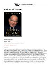 Advice and Dissent By YV Reddy.pdf