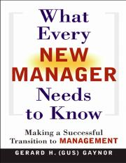 AMACOM, What Every New Manager Needs to Know - Making a Successful Transition to Management [2004 IS
