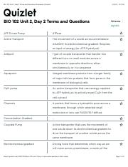 BIO 102 Unit 2, Day 2 Terms and Questions Flashcards | Quizlet