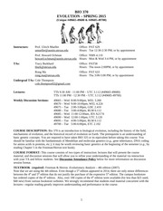 BIO370 Syllabus & CoursePolicy Spring 2015