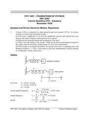PHYS 140Y Fall 2002 Tutorial 10 Solutions