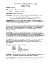 Managerial Accounting -  Syllabus Fall  2010 Sections 1&2