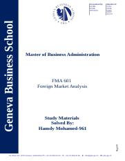 FMA 601 Study Materials - Hamdy Mohamed - 961