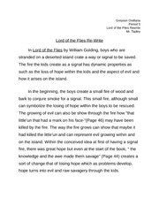 Lord of the flies rewrite tapley