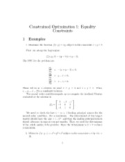 Constrained Optimization 1