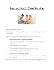 revision of Home Care Service