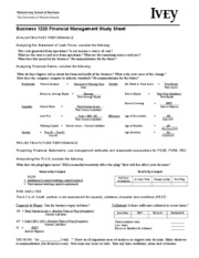 Biz 1000 Financial Management Study Sheet