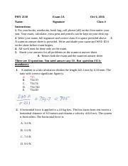 PHY 2130 Exam-1A -solution