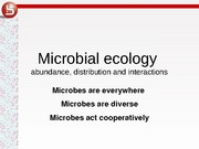 Lecture 6 microbial ecology 2011