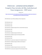 PSYCH 500 – LIFESPAN DEVELOPMENT – Complete Class Includes All DQs, Individual and Team Assignments
