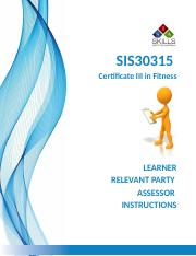 1- SIS30315 - Certificate III in Fitness - Instructions V3.0.docx