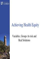 25 Achieving Health Equity