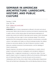 SEMINAR IN AMERICAN ARCHITECTURE Syllabus