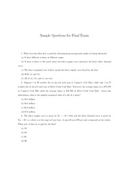 Sample Exam3 Questions