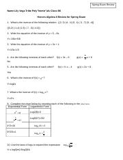 Algebra II Spring Semester Exam Review.doc