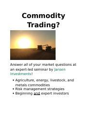 Lab 1-1 Commodity Trading Flyer