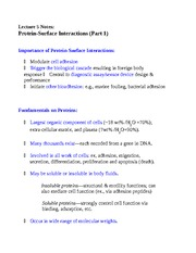 Lecture 5 Notes Protein-Surface Interactions (Part 1)