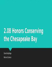 2.08 Honors Conserving the Chesapeake Bay