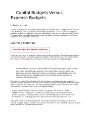 Capital Budgets Versus Expense Budgets.docx