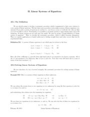 II. Linear Systems of Equations