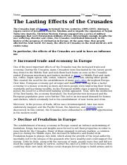 Lasting effects of the Crusades.doc