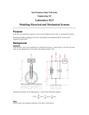 ENGR 315 Lab #2.5 Modeling Electrical & Mechanical Systems