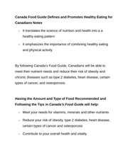 Canada Food Guide Defines and Promotes Healthy Eating for Canadians Notes