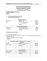 AYB200 Tutorial Student Solutions Week 12 Cash Flow Statements