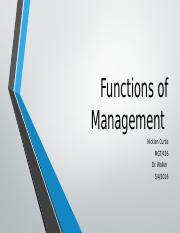 Functions of Management Nicklen Curtis