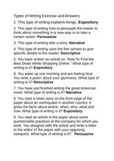 Types_of_Writing_exercise_and_answers