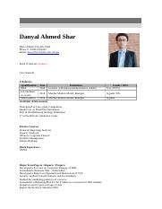 CV by Danyal Ahmed