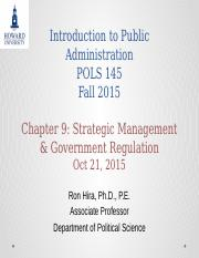 Introduction to Public Administration Lecture  Chapter 9 Strategic Managment Discussion Fall 2015.pp