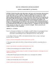 MGT 501-Spring 2014 Article Assignment 1-KEY.doc