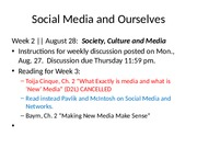 Wk 2 Aug 28 Lecture notes Society Culture Media