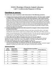 Diving Lab answer sheet  2016