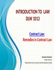 3. Remedies in Contract