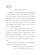 Final Project: Literature Review Essay