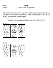 Exercise Chapter 1 Module 5 The algebra of sets