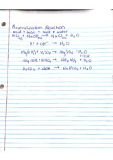 Neautralization Reaction Notes