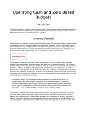 Operating Cash and Zero Based Budgets.docx