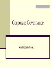 (2015) Seminar 10 - Introduction to Corporate Governance
