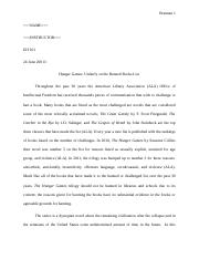 Hunger games essay final essay