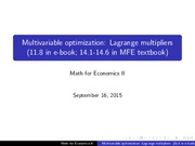 Lecture 4 Lagrange multipliers