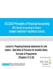 Lecture 6 (Chp 17 & 18) - Bad & Doubtful Debts; Accruals & Prepayments(1)