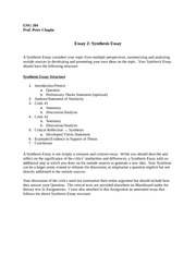 Synthesis Essay Template - additional step in which you draw on ...