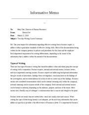 informative memo final draft informative memo to from date mary tate director of human resources niema kitt subject two day writing course summary ms