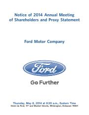 Ford's 2014 Def 14A (Proxy Statement)