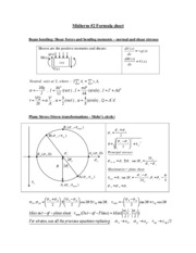 EM 319 - Formula Sheet for 2nd Midterm