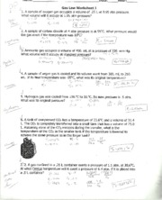 Wksheet 2 Gas Laws