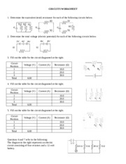 CIRCUITS WORKSHEET - CIRCUITS WORKSHEET 1 Determine the ...